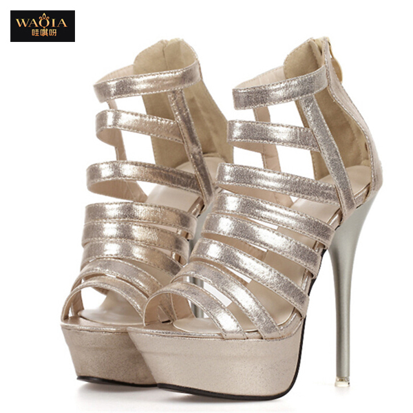 Гаджет  2015 New Arrival Women Sexy Wedding Pumps Party High Heels Peep toe Shoes Summer Style Sandals Gold and Silver size 35-40 None Обувь