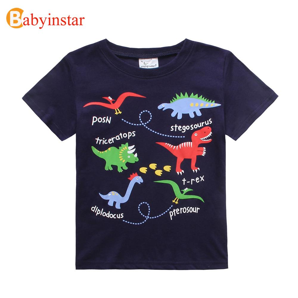 2016 Summer Baby Girls Boys T-Shirt Vestido Infantil Cartoon Striped Dinosaur Logo T-shirt Kids Clothes Short Sleeve T Shirt(China (Mainland))