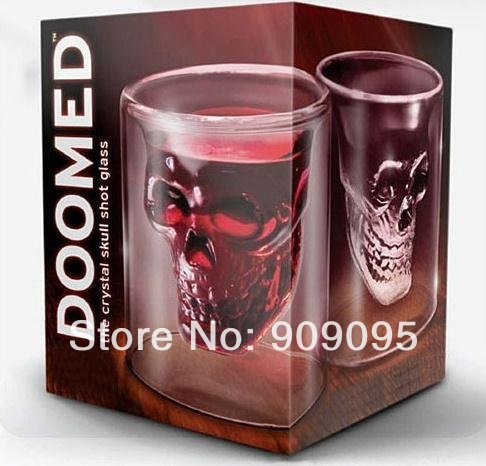 420pcs/lot FEDEX Free Shipping, Crystal Skull Shot Glass Wineglass For Vodka / Whiskey, Novelty Skeleton Head Cup L06(China (Mainland))