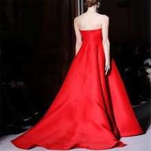 Glamorous Red Evening Gown Simple Empire Bright Red Satin Strapless Custom Made Formal Evening Dresses Yisha Lady(China (Mainland))