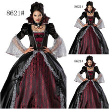 Freeship!Customer-made Black Vintage Costumes Cosplay Renaissance Dress Steampunk dress Gothic Cosplay Halloween Dresses C-795