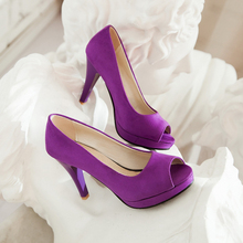Big size 34-43 Fashion spring and autumn women's shoes sexy Peep Toe party high heels black purple Wine-red AUGZ-156-1