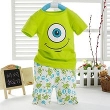 Lovely Kids Boys Cartoon Short Sleeved Cotton Tops T-shirt Shorts Outfit 2pc/set(China (Mainland))