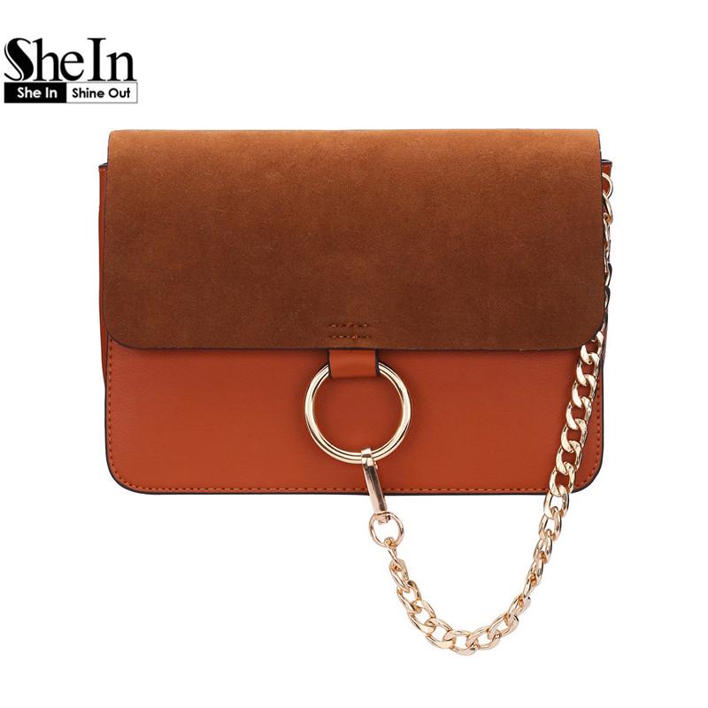 SheIn High Fashion 2016 Street Designers Handbags Ladies Adjustable Novelty Chain Ring Embellished Satchel Bag<br><br>Aliexpress