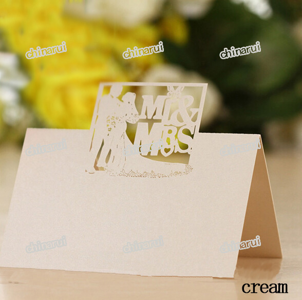 Mr Mrs invitation place paper card table Decoration Wedding Party Event Decors festival favor laser cutting Wholesale(China (Mainland))