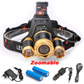 3 LED Cree XM L T6 Headlight 8000 Lumens Zoomable LED Headlamp 2pcs 18650 6800mah Battery