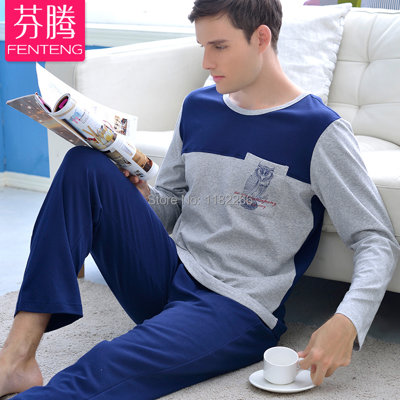 Male spring sleepwear comfortable casual long sleeves knitted cotton pullover lounge 2015 free shipping men pajama sets(China (Mainland))