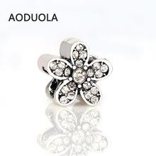 Buy 10 Pcs Lot Silver Alloy Bead Flower Shape Rhinestones DIY Big Hole Beads Spacer Murano Bead Charm Fit Pandora Bracelet for $3.70 in AliExpress store