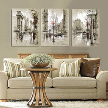 Modern Style Abstract Oil Painting Canvas Retro City Street Landscape Pictures Decorative Paintings 3 Panel Wall Art No Framed(China (Mainland))