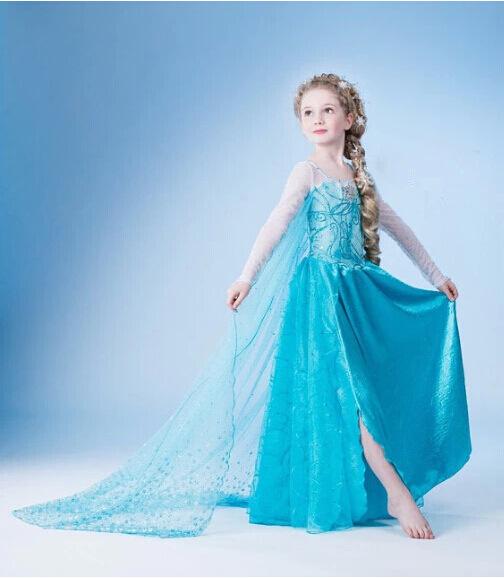 Fantasia Infantil Queen Elsa Dress Princess Fantasy Kids Party Children Movie Cosplay Costume UK Fancy Girls Dresses - ZO trading store