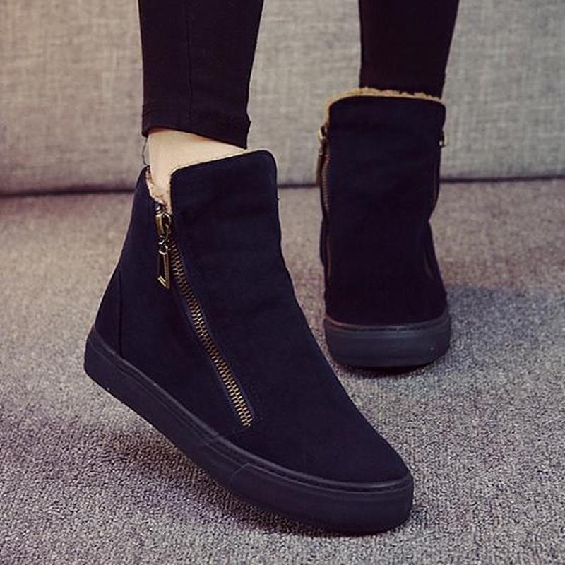 woman snow boots 2016 winter British cotton zipper boots female flat heel non-slip plus velvet solid female snow boots 35-40(China (Mainland))