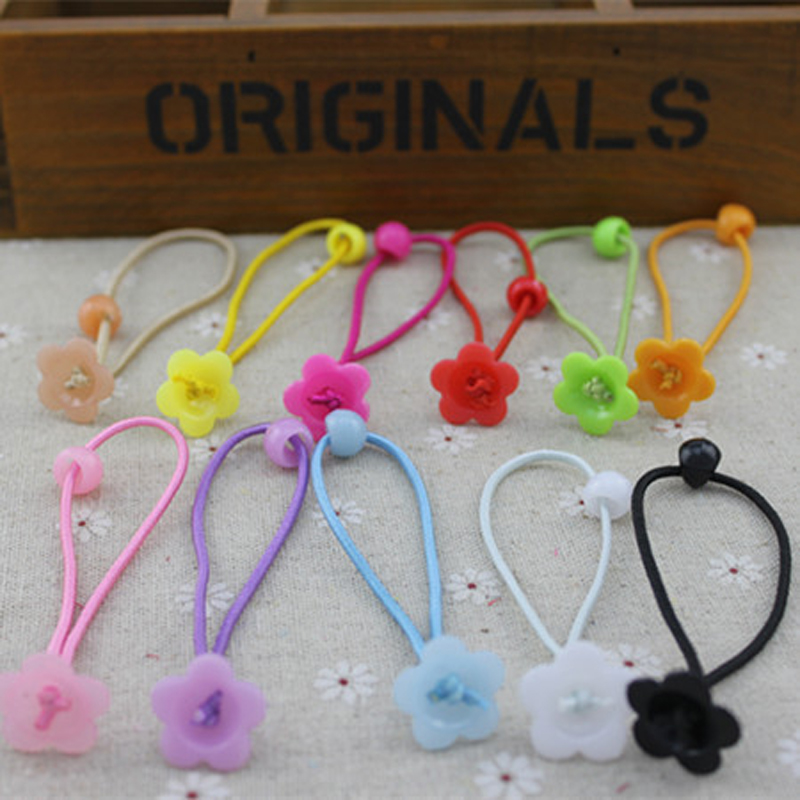 Fashion Handmade DIY accessories Lovely children hair accessories Flower beads elastic hair bands for girls wholesale(China (Mainland))