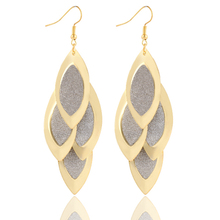Brand Design Fashion Personality Plating Gold Multilayer Leaf Tassel drop earrings jewelry Matte Statement Earrings 2014 M11(China (Mainland))