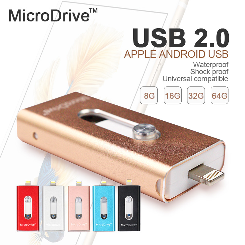 Newest Flash Drive HD U-Disk Micro USB interface 3 in 1 for Android/iPhone 5/6/5s/6Plus iPad iPod/PC/MAC 8GB/16GB/32GB/64GB(China (Mainland))