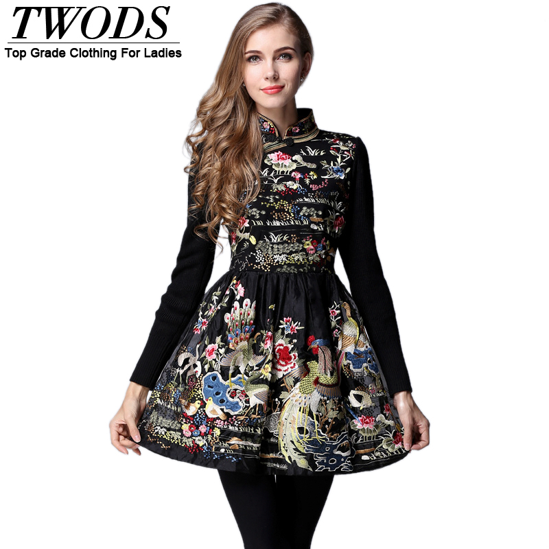 Twods 2015 Spring Women New Luxury Embroidery Dress Long Sleeves Fashion High End Tang Suit