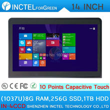 Black touch screen all in one pc industrial embedded computer with Intel Celeron 1037u 1.8Ghz CPU 8G RAM 256G SSD 1TB HDD(China (Mainland))