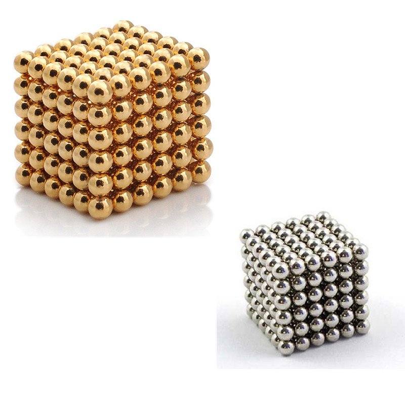 3mm 216 pcs silver and gold Neodymium Magnetic Balls Spheres Beads Magic Cube Magnets Puzzle Block kid toys(China (Mainland))