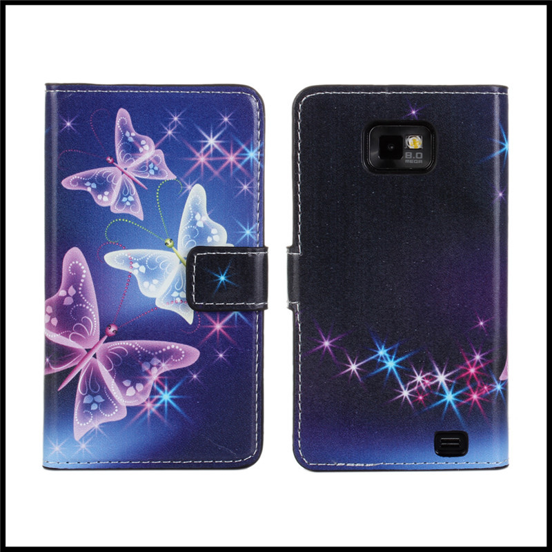 Fashion Cover Case For Samsung Galaxy S2 Luxury Butterfly Printed Wallet Leather Case Shell Mobile Phone Bag For Galaxy S2 i9100(China (Mainland))