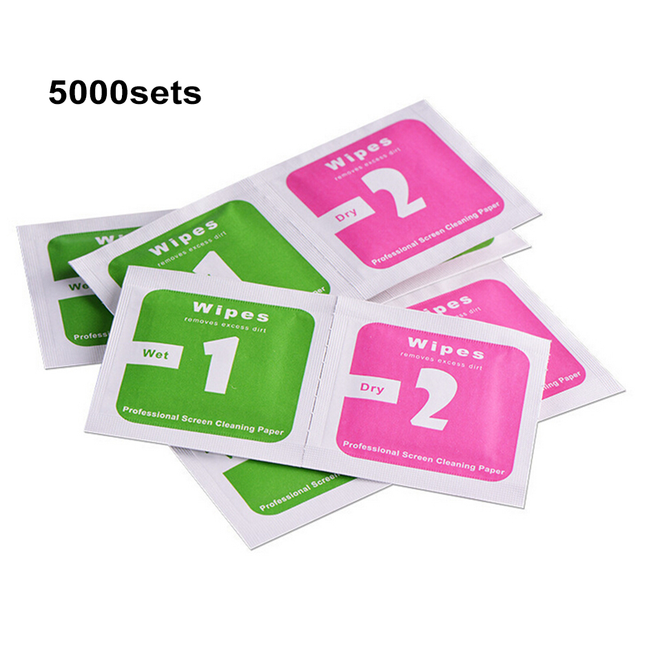 Dry-Wet Wipes For Tempered Glass Screen Protectors Alcohol Pad Mobile Screen Cleaning Cloth Dust Absorber 5000sets/lot(China (Mainland))