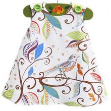 Baby Girl Dress Cotton Sleeveless Summer Baby Dress Bird Pattern Vestido Infantil Kids Dress For 1 Year Brthday Dress(China (Mainland))