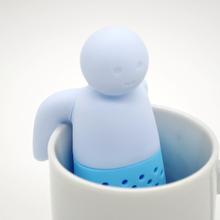2015 Teapot cute Tea Infuser/Tea Strainer/Coffee & Tea Sets/silicone tea Creative cute man Teapot Strainers blue zx*JJ1029W#c3