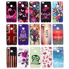 Huawei P9 Lite Case Soft Silicon TPU Cute Cartoon OWL Blue Sea Butterfly Flowers US Flag Cover 15 Designs - Z & STORE store
