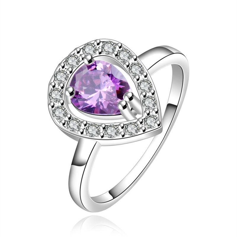 Fashion Luxury Women Engagement Jewelry Silver Gem Crystal Zircon Female Wedding Finger Heart Rings SR546 - Gagafeel Factory Co., Ltd store