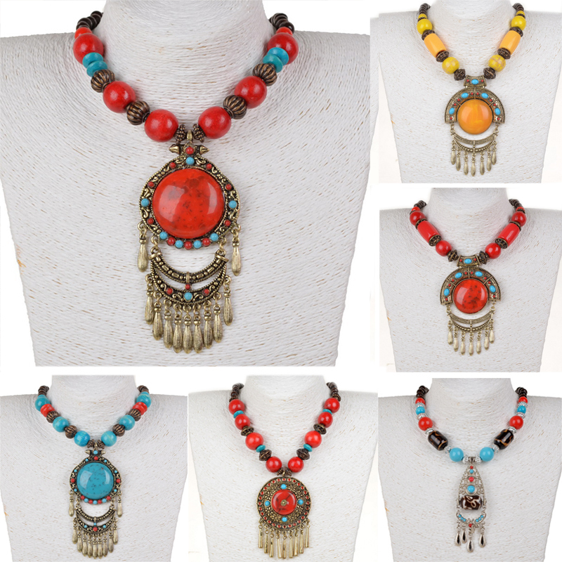 Ethnic Bohemian Necklace for Women Vintage Retro Copper Fringe Long Necklace Women Resin Wood Beads Necklace