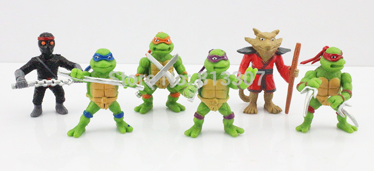 Здесь можно купить  Free Shipping 5set/lot TMNT Teenage Mutant Ninja Turtles Michelangelo Leonardo Raphael Splinter  PVC figure toy     Игрушки и Хобби
