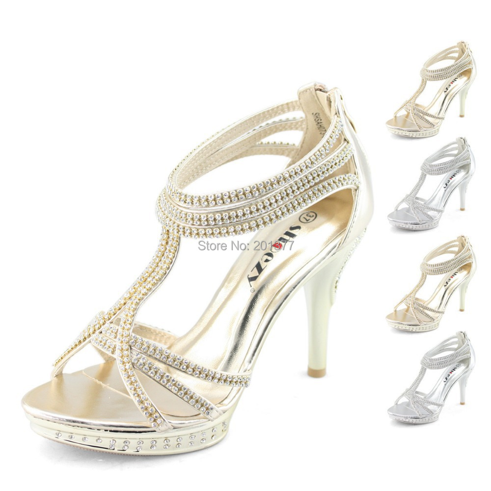 SHOEZY Brand Ankle Strap Zip Sandals Gold Silver Crystal High Heels Wedding Shoes Woman Strappy
