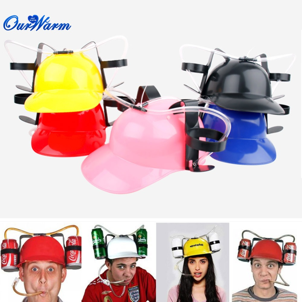 Beverage Holder Helmet Drinking Straws Plastic Handfree Beer Drinking Hat Lazy Helmet Party Favors for Kids Birthday(China (Mainland))