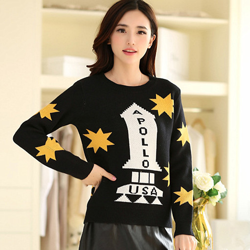 Star & Letter Printed Long Sleeve Casual Women Pullover Sweater Size S-2XL O-neck Korean Fashion Lady Loose Knitwear Black/Red(China (Mainland))