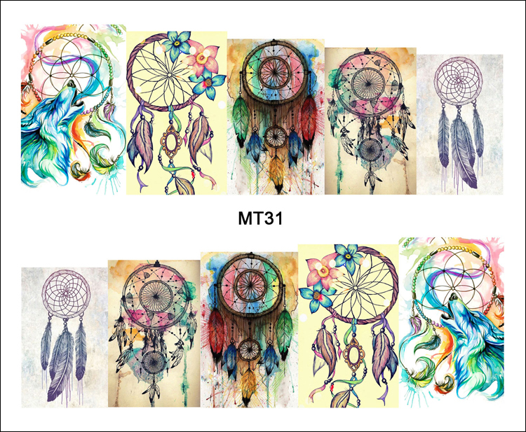 1 Sheet Nail MT31 Full Cover Color Dream Catcher POP Nail Art Water Transfer Sticker Decal For Nail Art Tattoo DIY Nail Tool(China (Mainland))