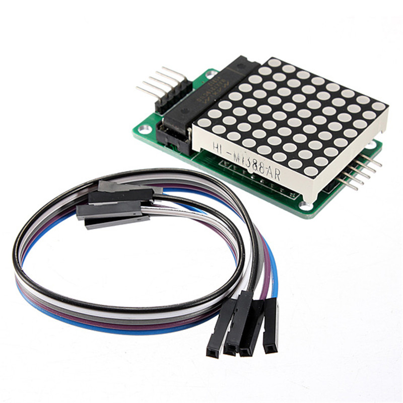 New DIY Electric Unit MAX7219 Dot Matrix Module MCU Control LED Display Module 5 x 3.2 x 1.5 cm For Arduino DIY + Cable(China (Mainland))
