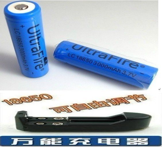 Package / wholesale (blue)-18650/3000mAh2 PCS lithium-ion battery 3.7V (5 pack) (universal charger5PCS) flashlight