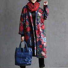 Free shipping--2015 New arrival national trend flower vintage medium-long clip long-sleeve coat loose cotton-padded Trench(China (Mainland))