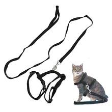 2016 Hot Sale Promotion Coleira Para Gato Nylon Collar Belt Adjustable Pet For Cat Kitten Lead Leash Harness Set Safty Training(China (Mainland))
