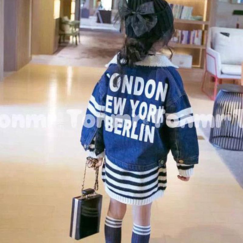 Скидки на 2016 зима Новый Девушки Джинсы Девушка куртка утолщенной короткий параграф пальто детей бесплатная доставка