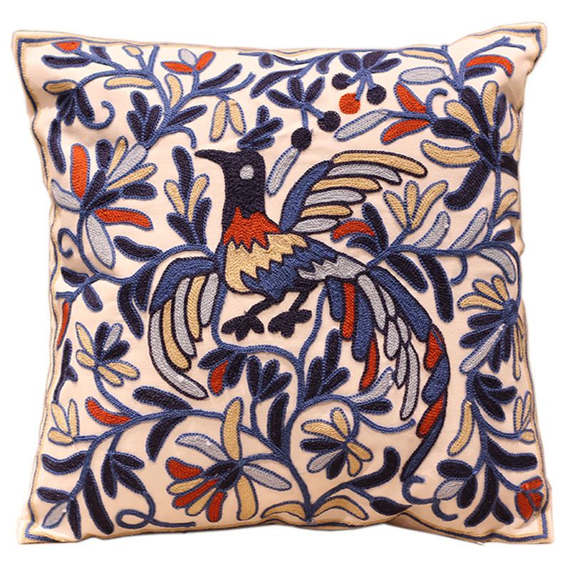 Blue Phoenix Embroidered Sofa Cushion Cover 100% Cotton Handmade almofadas para sofa decorative pillow covers(China (Mainland))