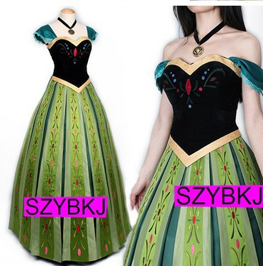 Free shipping Custom Made Anna Coronation Dress Princess Anna Costumes Outfit Anna Cosplay Dress customized with a gift(China (Mainland))