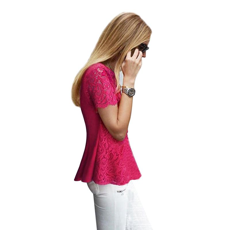 Big Sizes Women Lace Blouses 2015 Summer Embroidery Lace Crochet Hollow Short-sleeved Chiffon Lace Shirt Blusas Femininas BH762(China (Mainland))