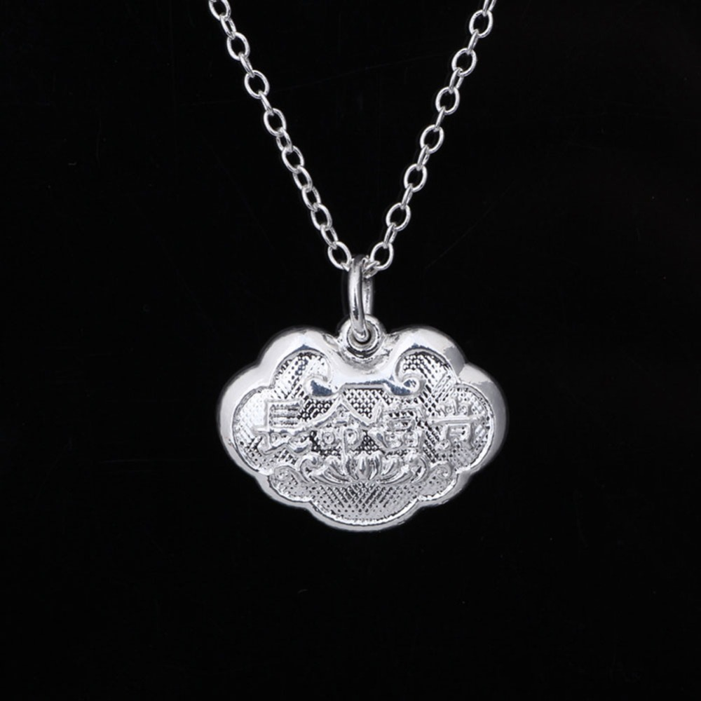 925 Silver Jewelry Hearts Necklace Jewelry Children safety lock Pendant Necklace Cute baby longevity lock(China (Mainland))