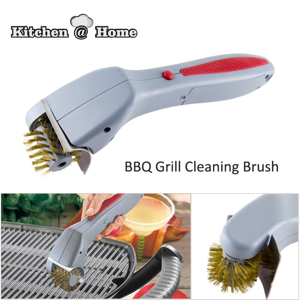 BBQ Grill Oven Cleaning Brush AA Battery Operated Motorized Think Tank Technology Cleaner Kitchen Gadget Gift Present K207(China (Mainland))