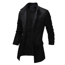 Men's Woolen Trench 2015 New Fashion Slim Fit Long Coat Casual Soild Lapel Windbreaker for Men(China (Mainland))