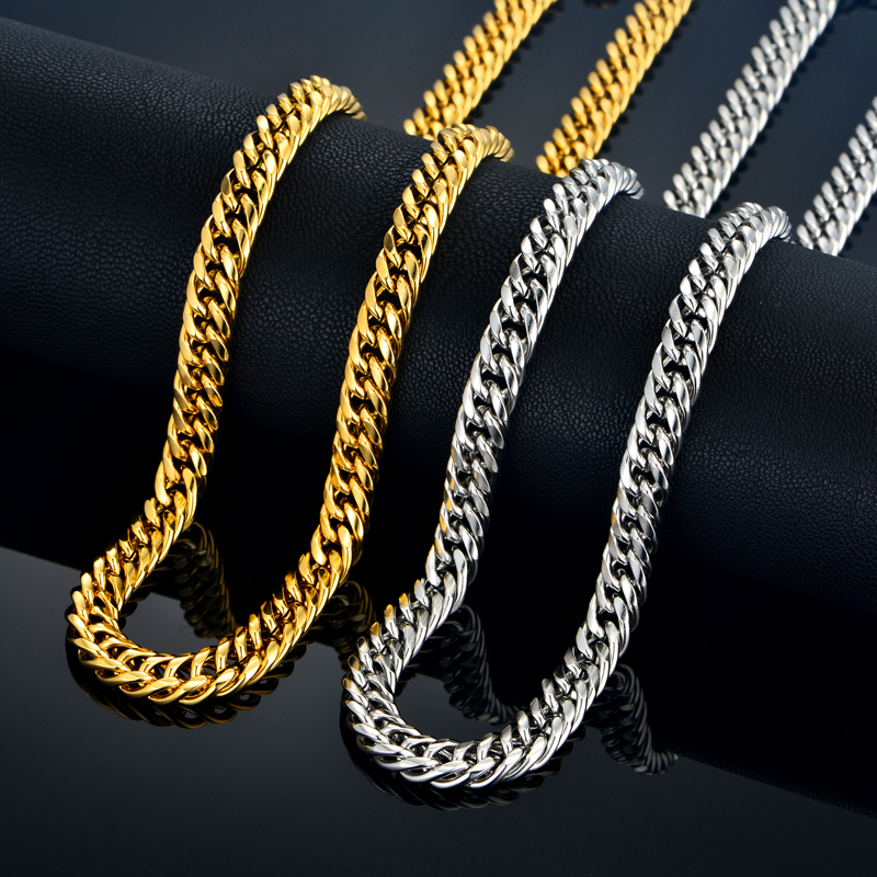 Newest Men's Thick Silver Chains Cheap Fashion Necklaces Male Silver Color Stainless Steel Mens Chain Necklace Jewelry(China (Mainland))