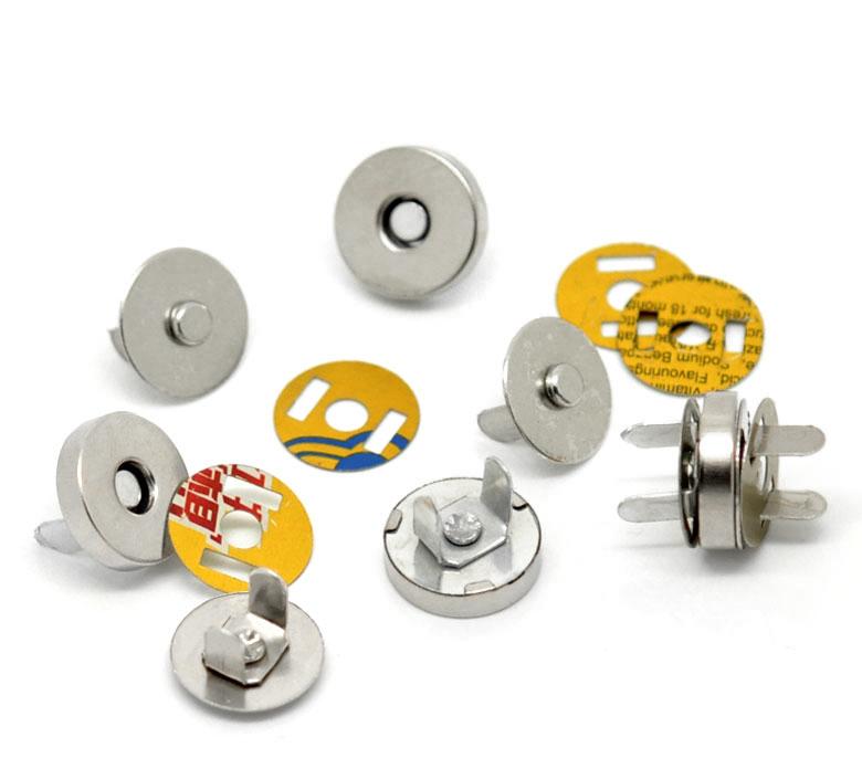 500Sets Wholesale Fermoirs Magnetic Purse Snap Clasps Closure Purse Handbag Silver Tone 14mm Dia.(China (Mainland))