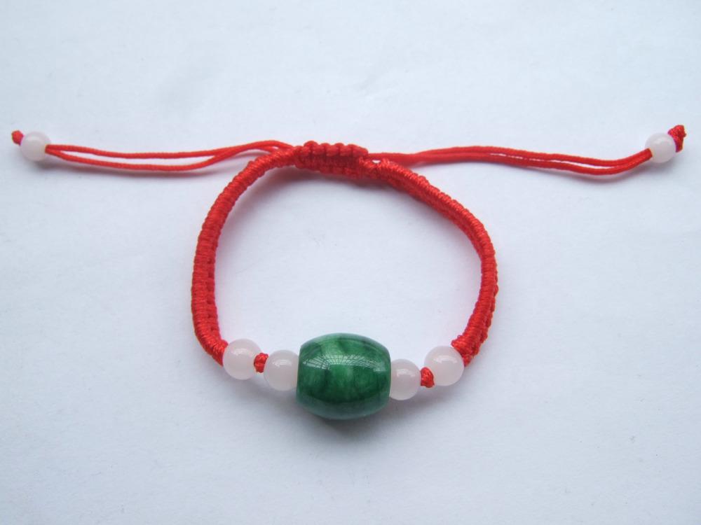 1pc Chinese Red Lucky Silk Twist Cord Cat Eye Natural Jade Stone Bead Braid Friendship Bracelets(China (Mainland))