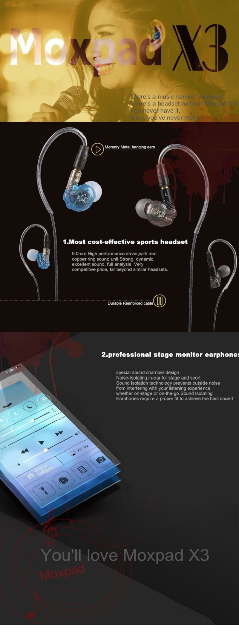 Moxpad X3 Sports Earphones Running with Mic for Mobile Phones in-ear Headset Sound Isolating HiFi Headphones PK SE215