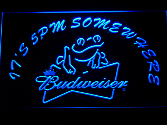 416 It's 5 pm Somewhere budweiser Frog LED Neon Sign Wholesale Dropshipping On/ Off Switch 7 colors DHL(China (Mainland))