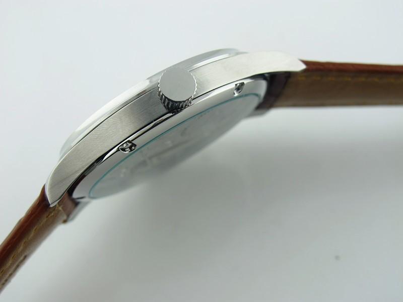 Повседневная 44 мм Parnis Белый Циферблат 6498 Рука Обмотки Часы Серебристый Корпус Наручные Часы Горячая Продажа
